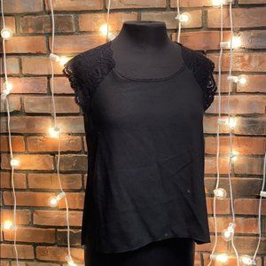 One Clothing Black Silky Blouse Lacy Sleeves Medi
